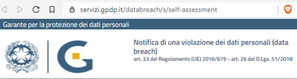 Strumento Autovalutazione Data Breach Garante